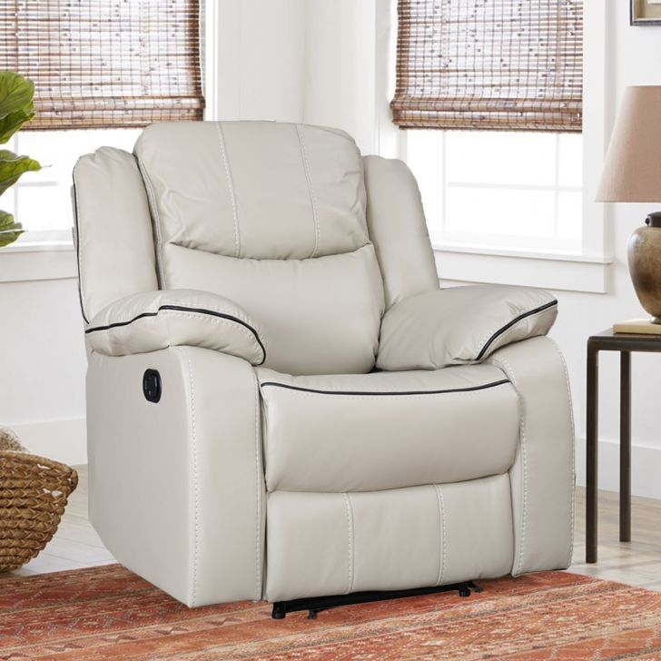 Hugo Fabric Single Seater Recliner in Beige Colour by HomeTown