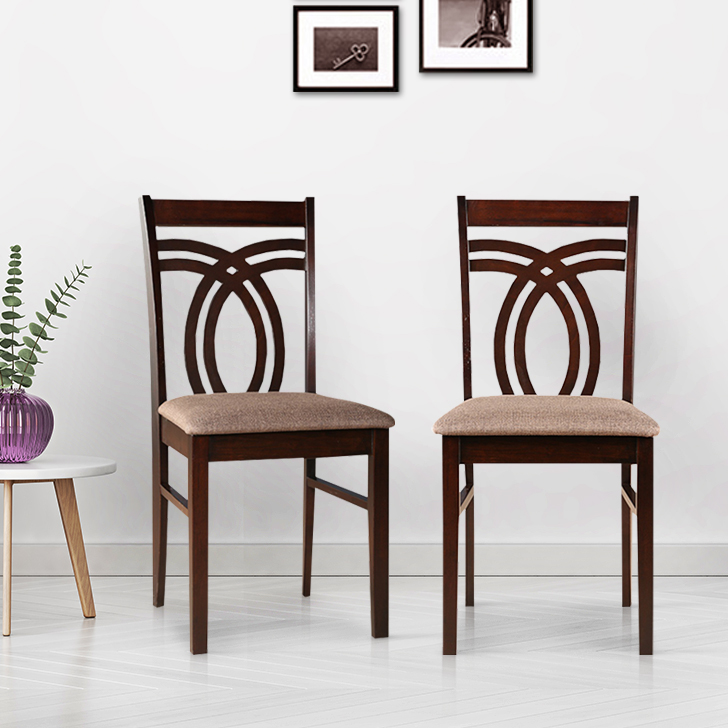 Stella Solid Wood Dining Chair Set of Two in Dark Walnut Colour by HomeTown