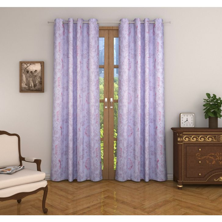 Nora Printed Set of 2 Door Curtain in Blush Colour
