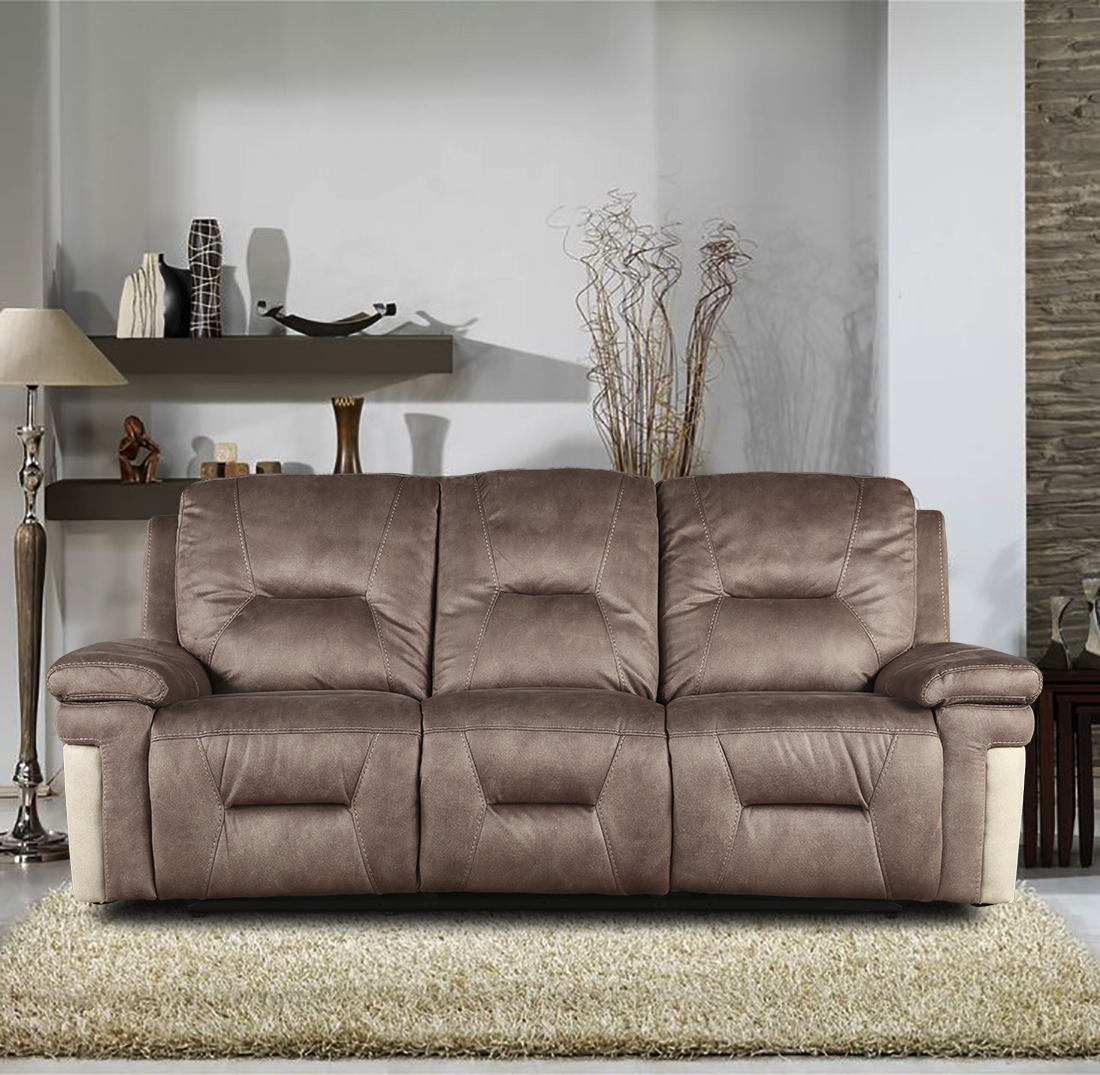Jupiter Fabric Three Seater Recliner in Brown Colour by HomeTown