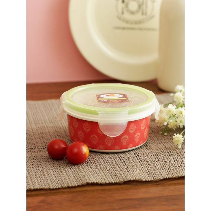 Nora Folklore Melamine Round Container 300 Ml in Multi Colour by Living Essence