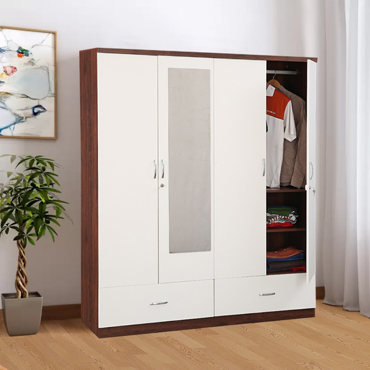 Utsav Engineered Wood Four Door Wardrobe in White & Wenge Colour by HomeTown