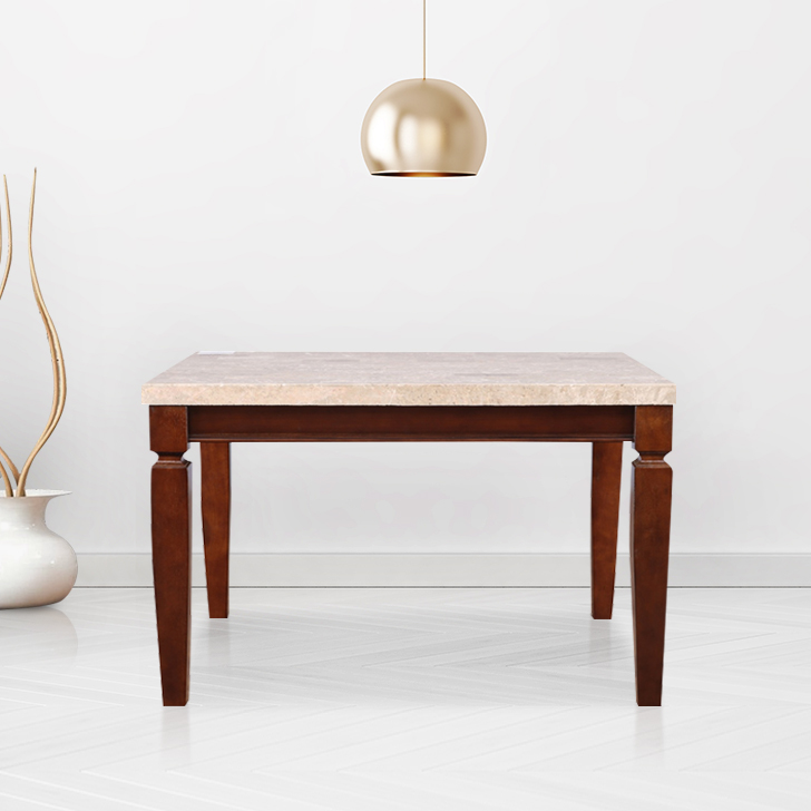 Bliss Solid Wood Marble Top Four Seater Dining Table in Beige & Brown Colour by HomeTown