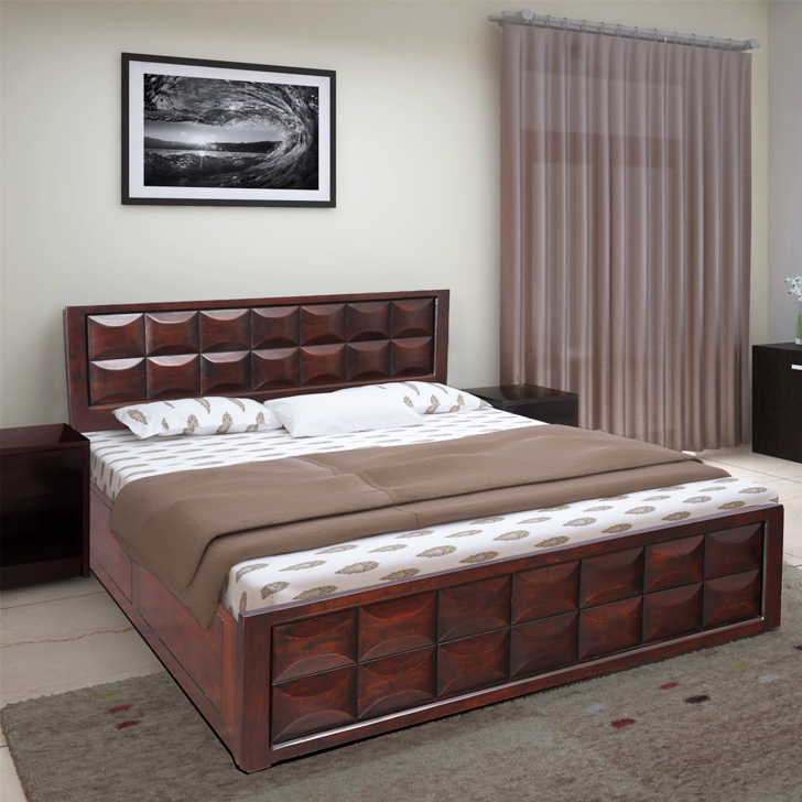 Florence Acacia Wood Box Storage Queen Size Bed in Walnut Colour by HomeTown