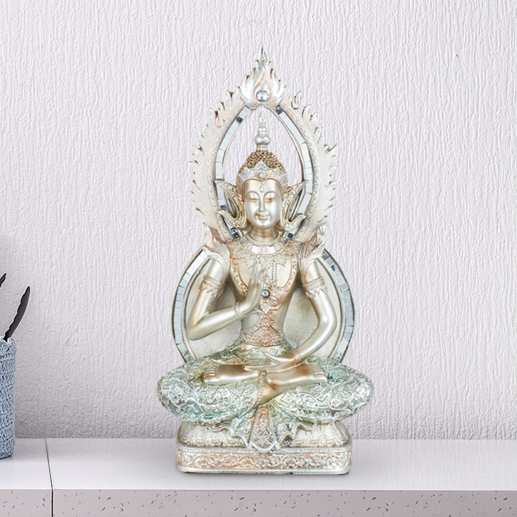 Miraya Aura Buddha Polyresin Table Decor in Light Blue Colour by Living Essence