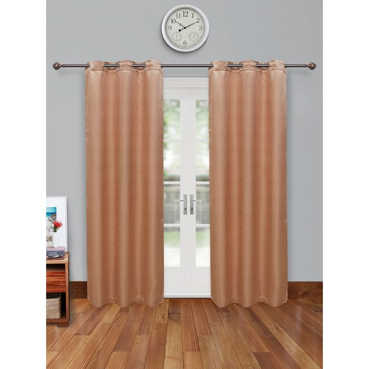 Fiesta Set of 2 Polyester Door Curtains in Beige Colour by Living Essence
