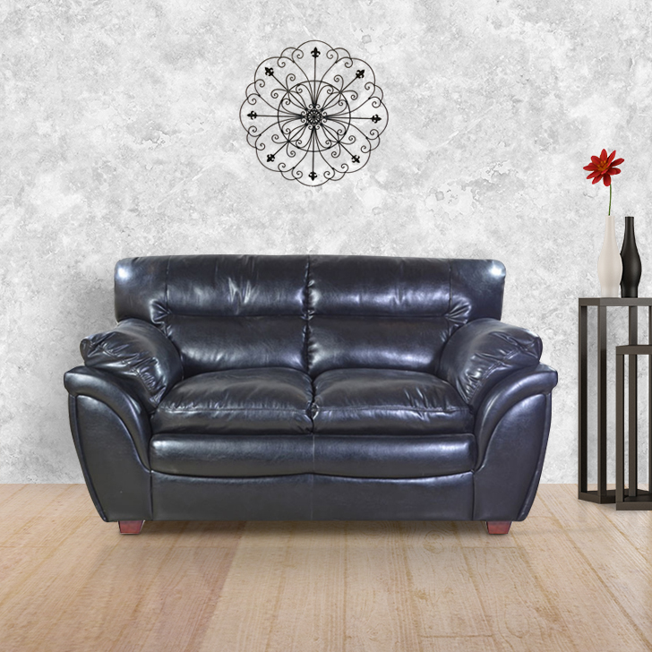 Vega Fabric & Leatherette Two Seater sofa in Black Colour by HomeTown