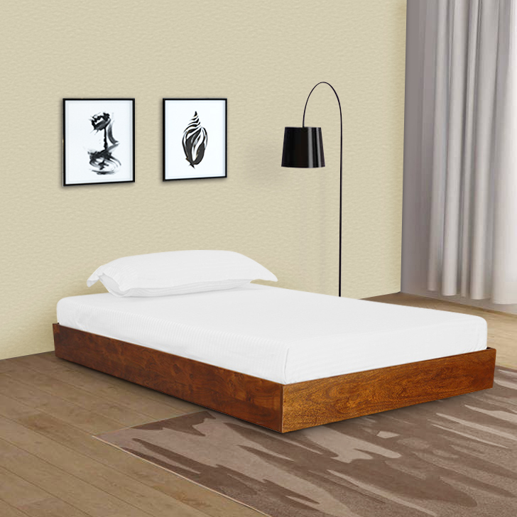 Randolf Sheesham Wood(Rosewood) Single Bed in Teak Colour by HomeTown