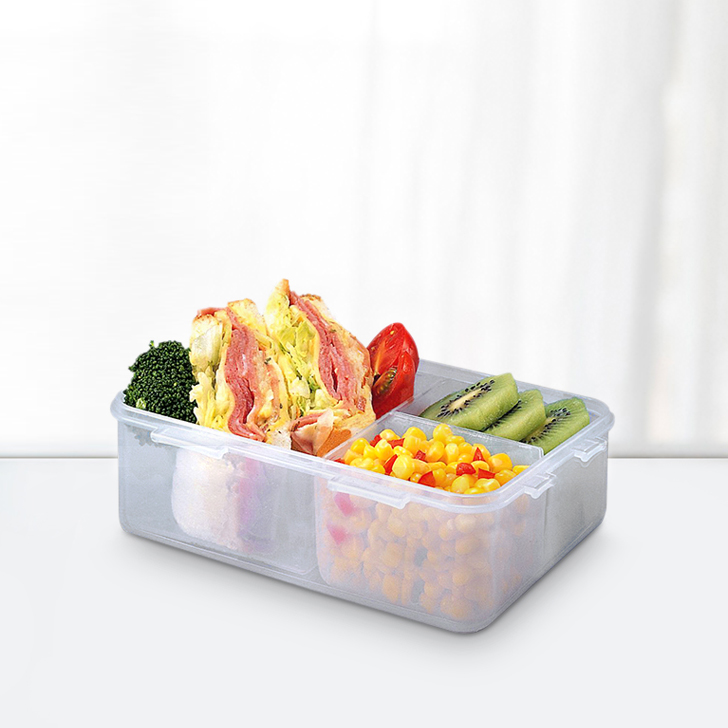 Lock & Lock Classics Rectangular Food Container With Divider 1 Ltr Polypropylene Containers in Transparent Colour by Lock & Lock