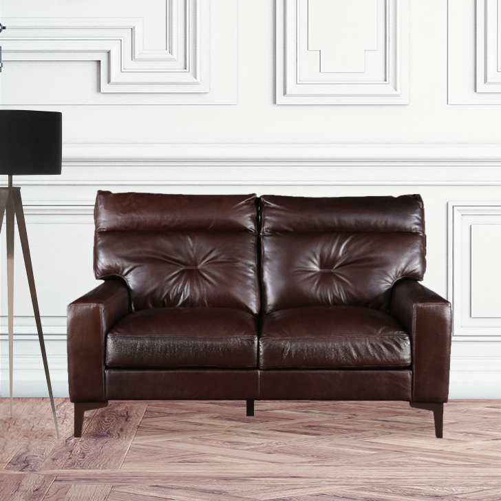 Harris Leather Two Seater Sofa in Brown Colour by HomeTown