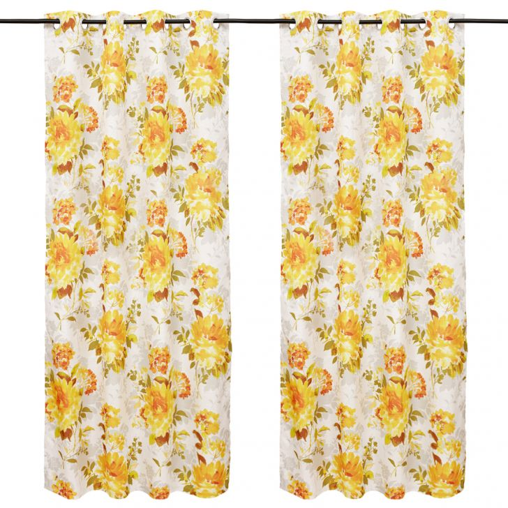 Nora Printed set of 2 Polyester Door Curtains in Mustard Colour by Living Essence
