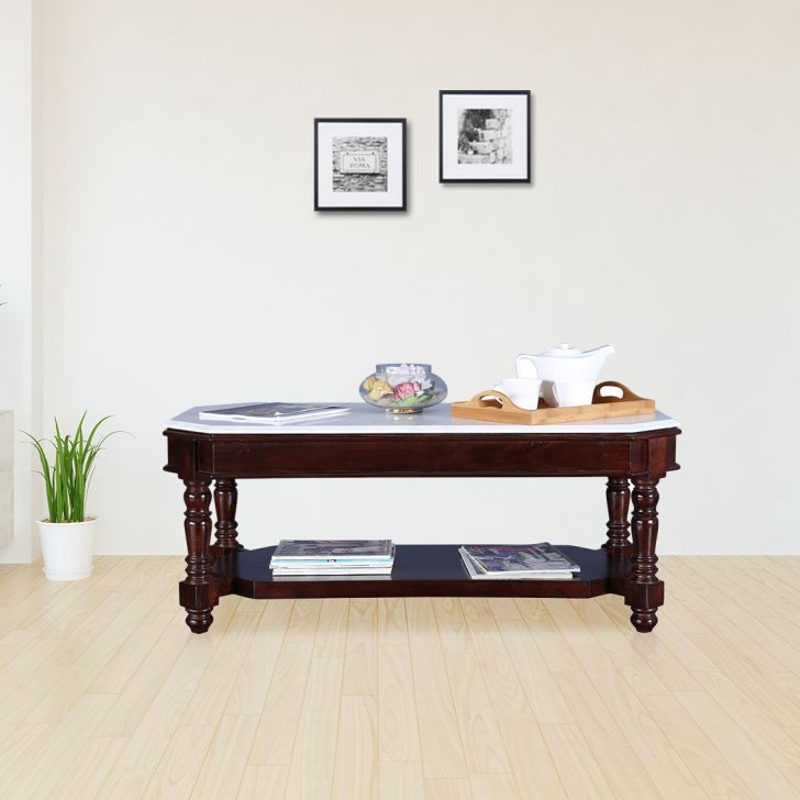 Royal Solid Wood Center Table in Dark Walnut Colour by HomeTown