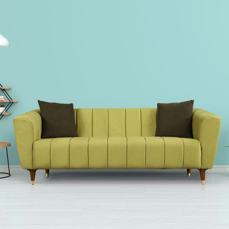 Morocco Fabric Three Seater Sofa in Lime Colour by HomeTown