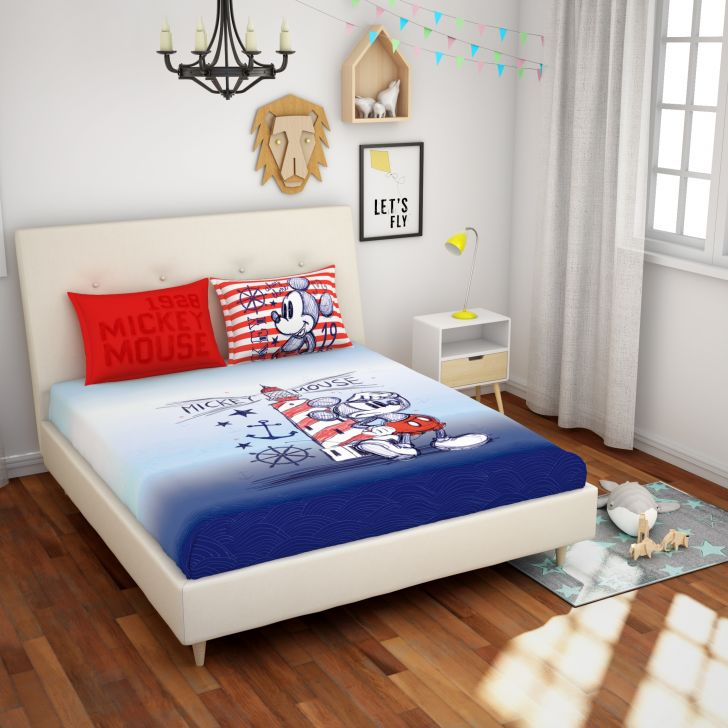 Spaces Disney Blue Cotton Double Bedsheet With 2 Pillow Covers