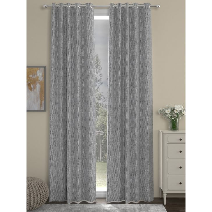 Solid Long Door Curtain In Grey Color By Rosara Home