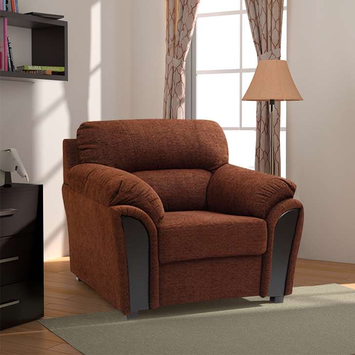 Ohio Fabric Single Seater Sofa in Brown Colour by HomeTown