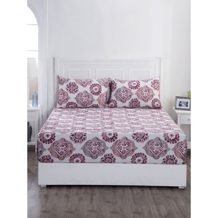 Maspar Cotton Bedsheet in Pink Colour by HomeTown