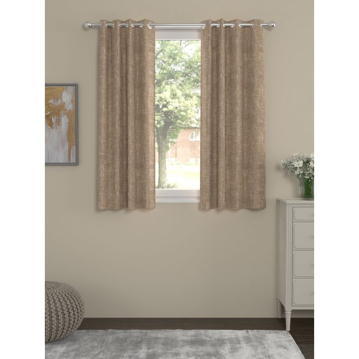 Rosara Home Polycotton Curtain in Beige Colour