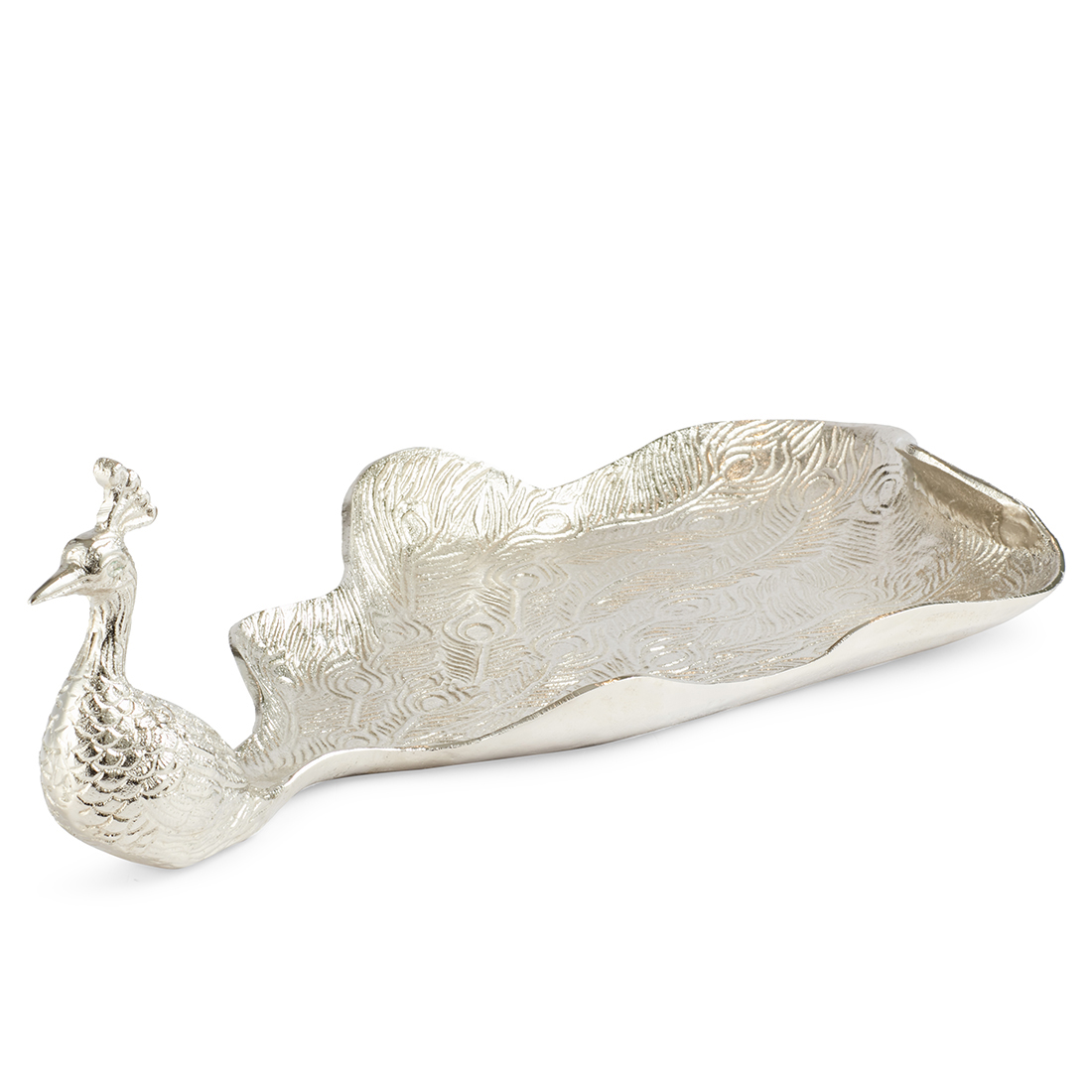 Jashn Silver Peacock Shaped Platter Metal Table D in Silver Colour by Living Essence