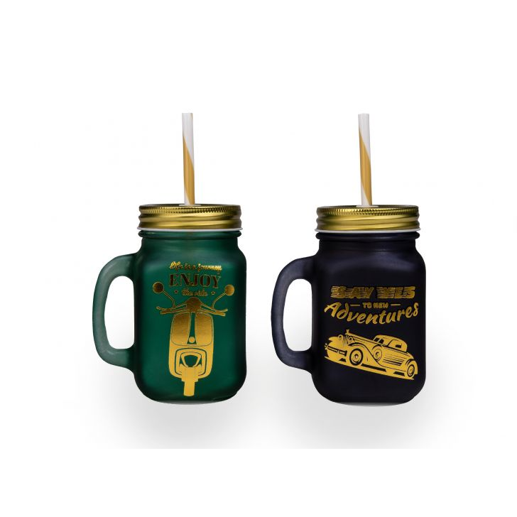 Gold Frosted Set of 2 Glass Mason jars in Green & Black Colour by Living Essence