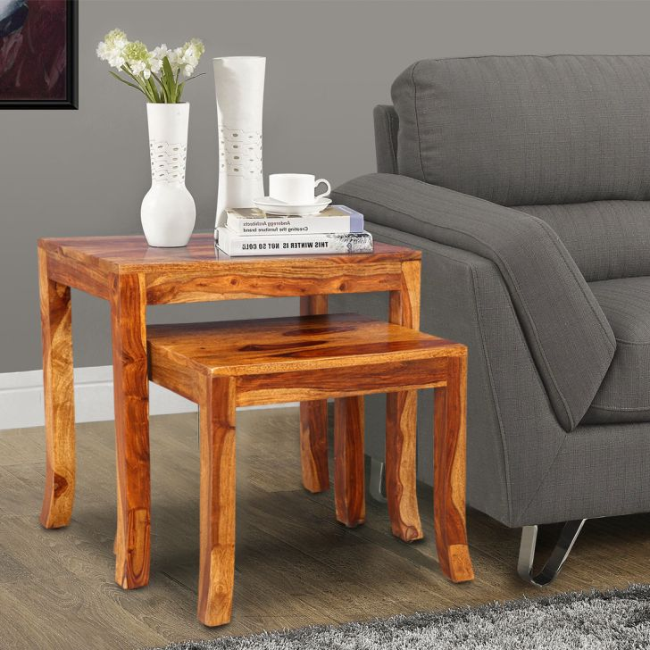 Stylus Solid Wood Nesting Table in Wenge Colour by HomeTown