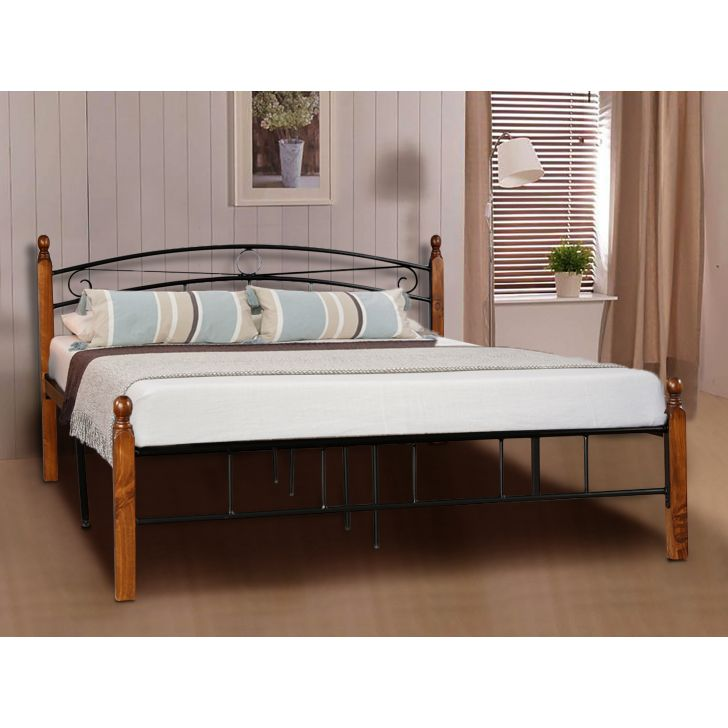 Berlin Wrought Iron Queen Size Bed in Black And Browm Colour by HomeTown