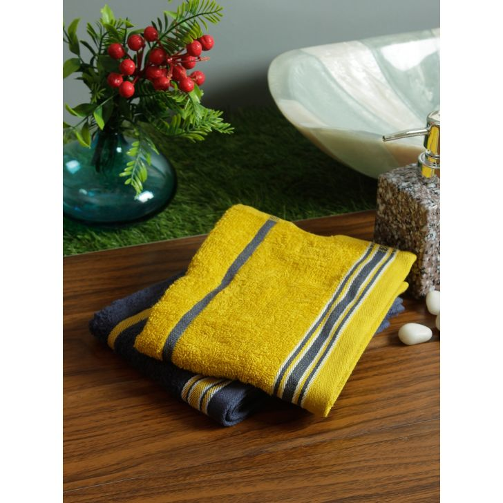 Set of 2 Emilia Cotton Hand Towels in Charcoal Gold Colour by Living Essence