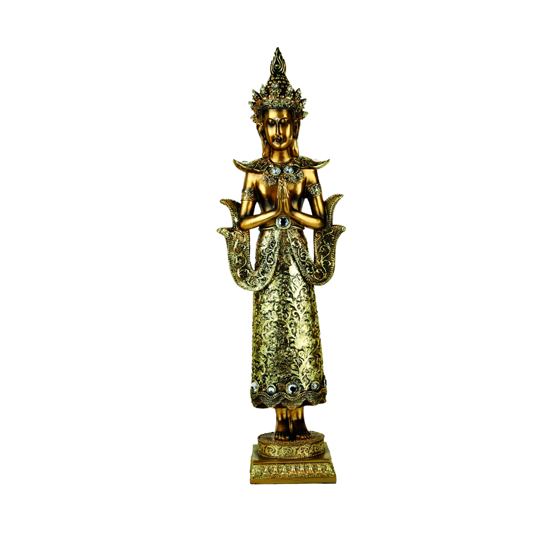 Embellished indonesian buddha figurine Polyresin Idols in Gold Colour by Living Essence