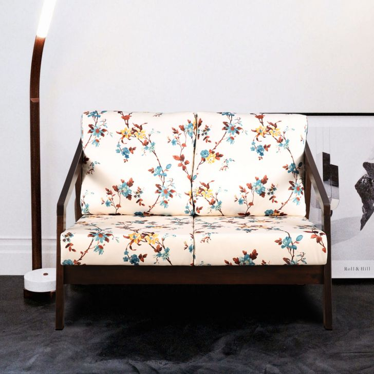 Borris Solid Wood Two Seater Sofa With Cushion in Floral Color by HomeTown
