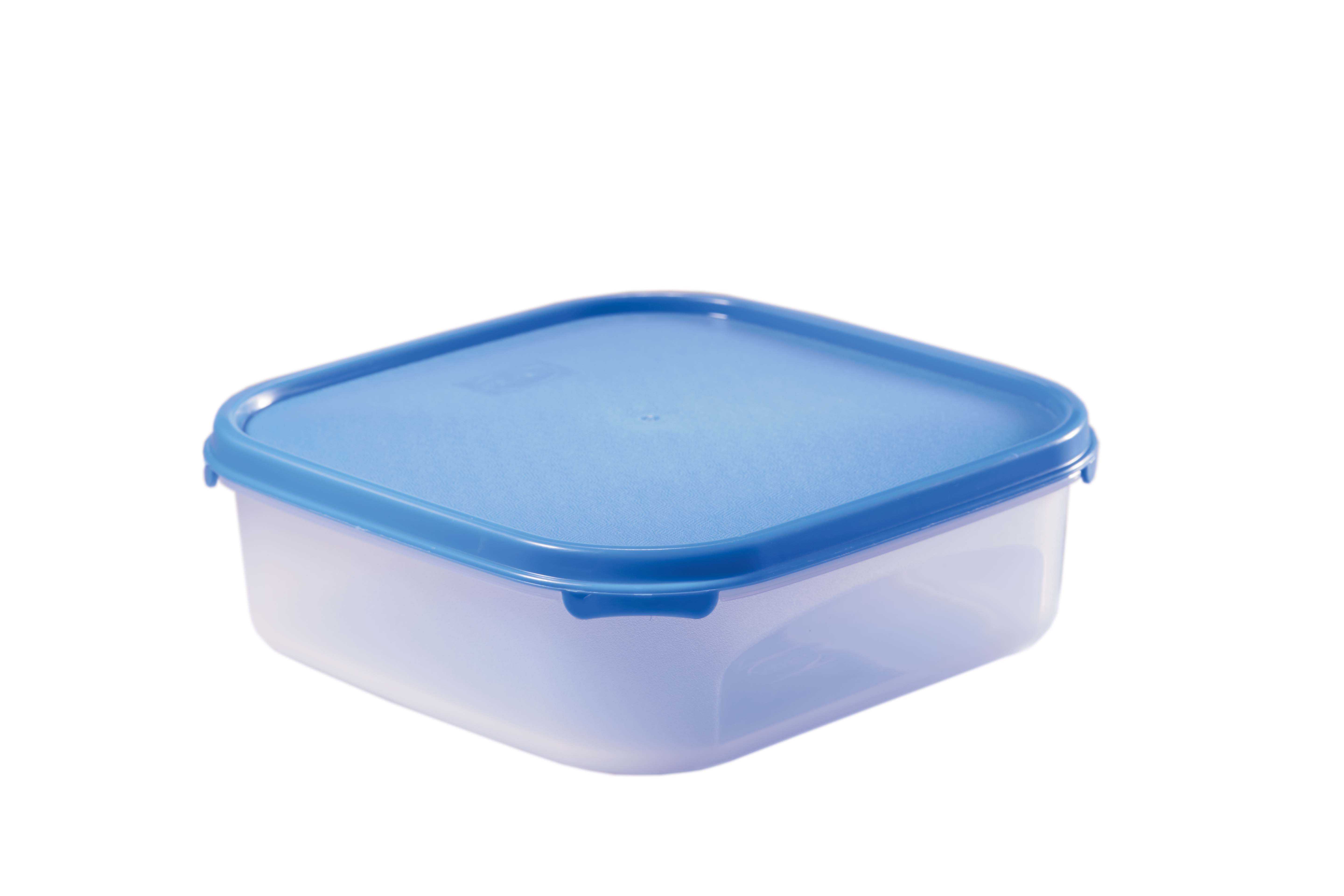 Magic Seal Square 1.2 Blue Polyproplene Containers in Transparent With Blue Lid Colour by Living Essence