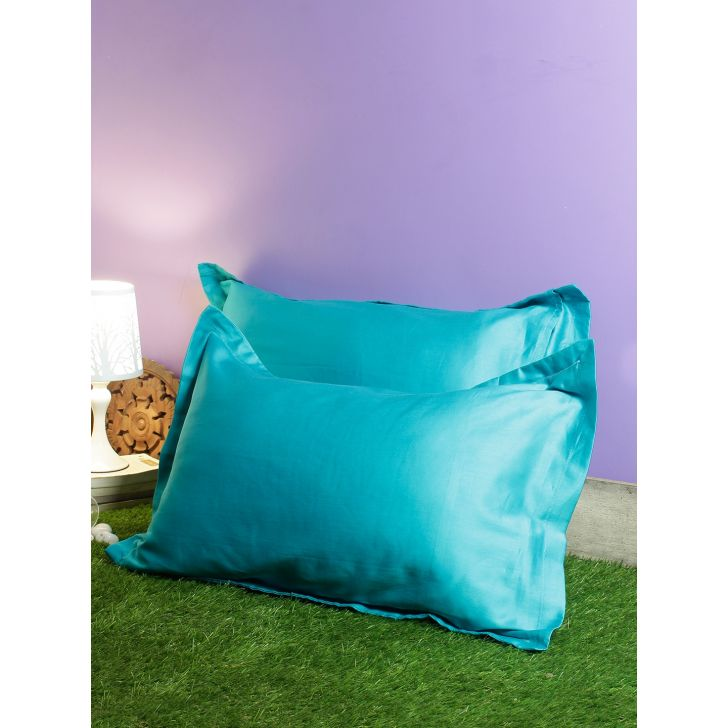 Set of 2 Nora Palette Solid Polyester Pillow Covers in Turquoise Colour by Living Essence