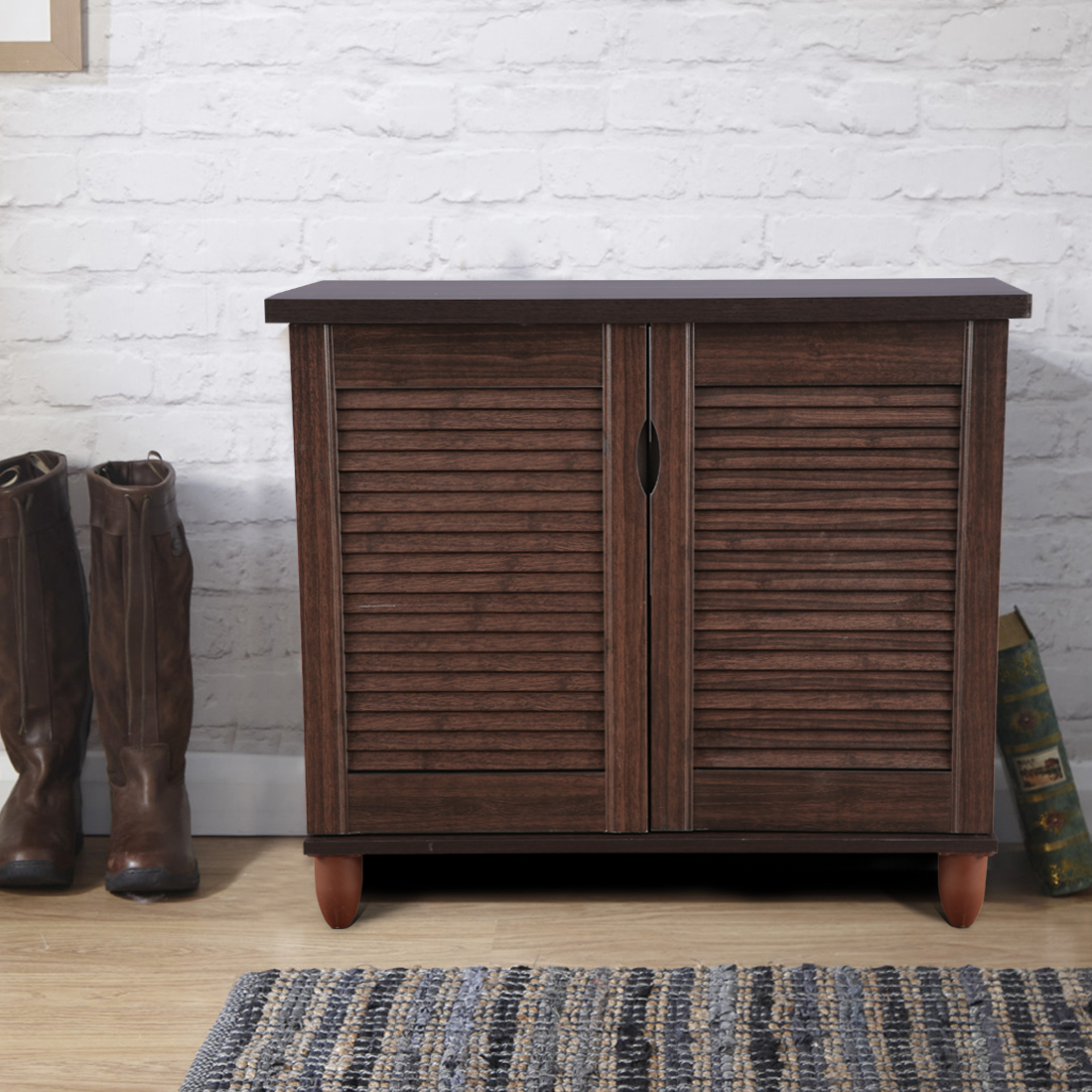 Riveria Engineered Wood Shoe Rack in Wenge Colour by HomeTown