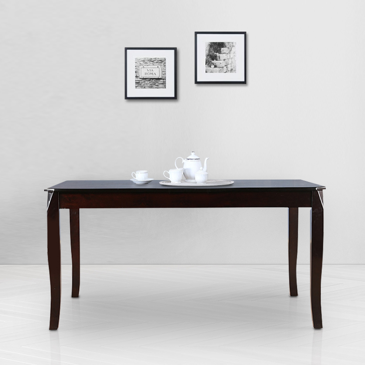 Cardiff Solid Wood Six Seater Dining Table in Mocha Colour by HomeTown