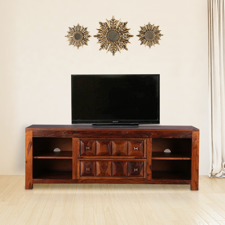 Woodrow Solid Wood TV Unit in Honey Color by HomeTown