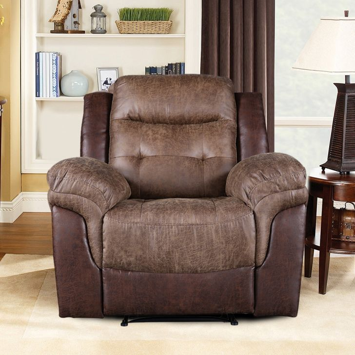 Eliza Leather Fabric Electric Recliner in Brown Colour