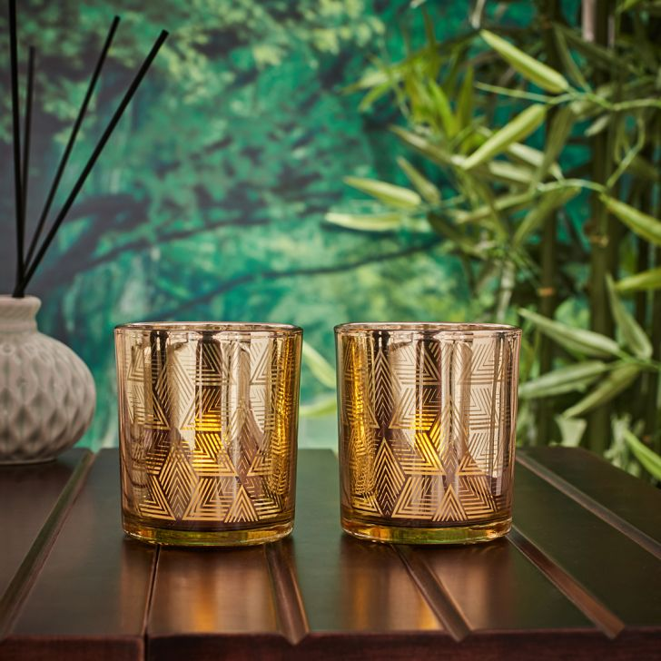 Zahara Set Of 2 Geo Etched Glass Candle Holders in GOLD Colour by Living Essence