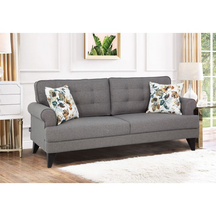 Paddington Fabric Three Seater Sofa in Grey Colour by HomeTown