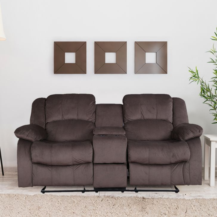 Rhea Fabric Two Seater Recliner With Console in Brown Colour by HomeTown