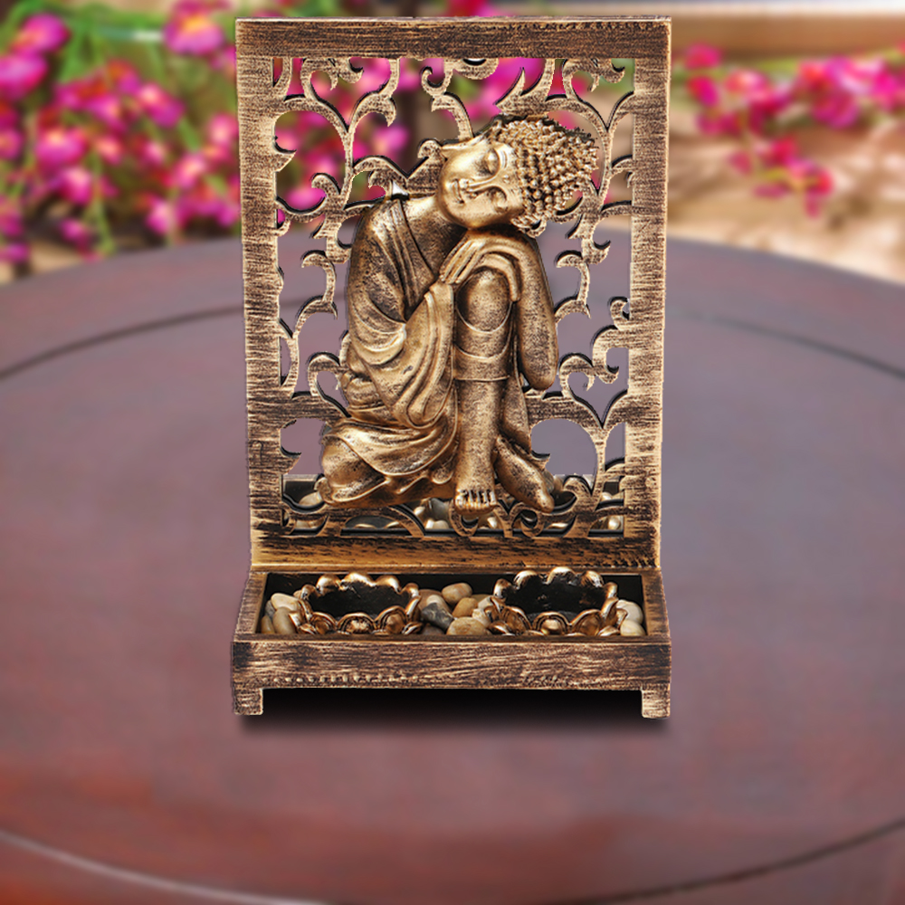 HomeTown Zahara Polyresin Buddha Brushed Gold Polyresin Candle Holders in Brushed Gold Colour by HomeTown