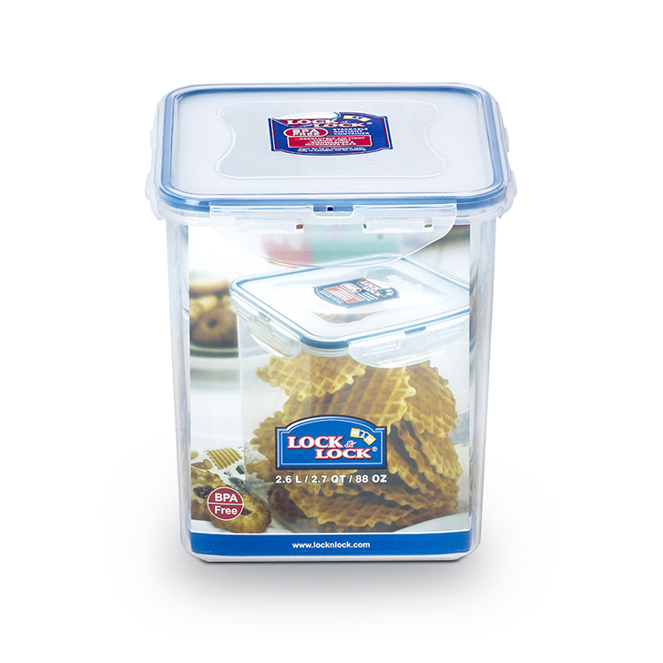 Lock & Lock Classics Tall Square Food Container 2600 ml Polypropylene Containers in Transparent Colour by Lock & Lock
