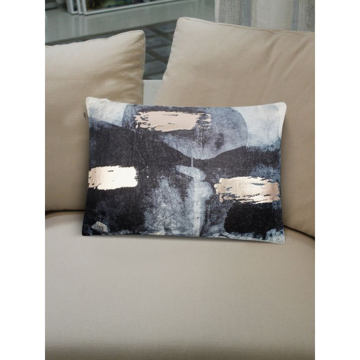 Modern Art Stroke Cushion Covers in Black Colour by Living Essence