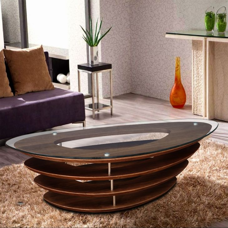 Marvella Engineered Wood Glass Top Center Table in Brown Colour by HomeTown