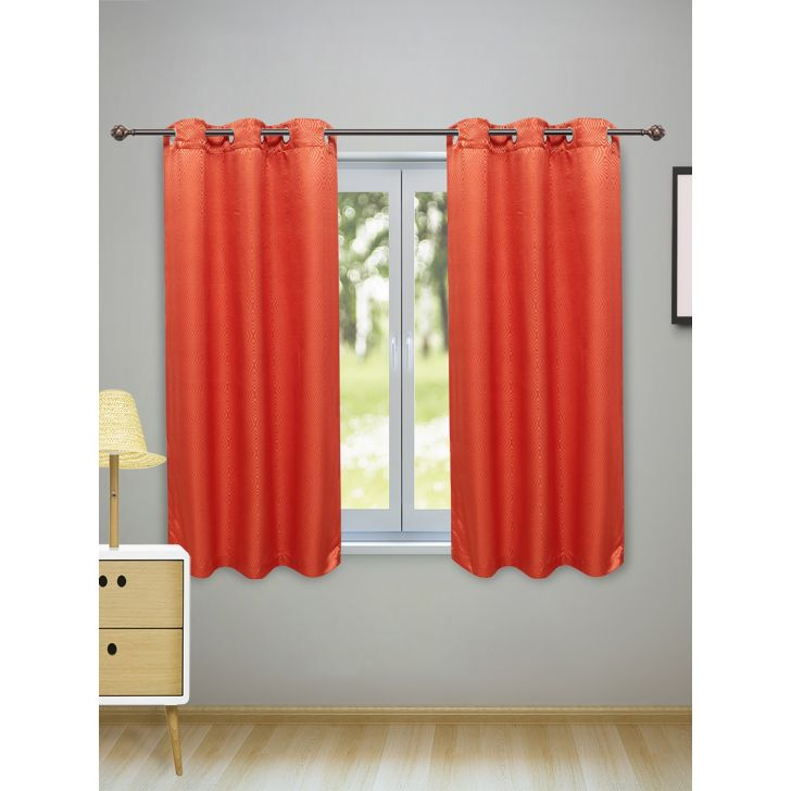Fiesta Set of 2 Polyester Window Curtains in Rust Colour by Living Essence