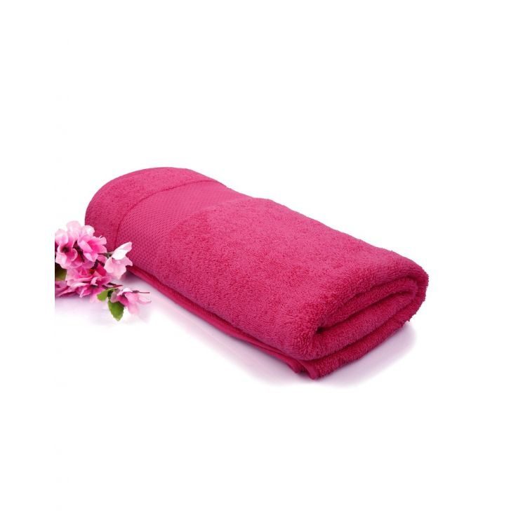Terry Bath Towel 1 Pink Weaved Cotton Bath Towels in Pink Colour by Tangerine