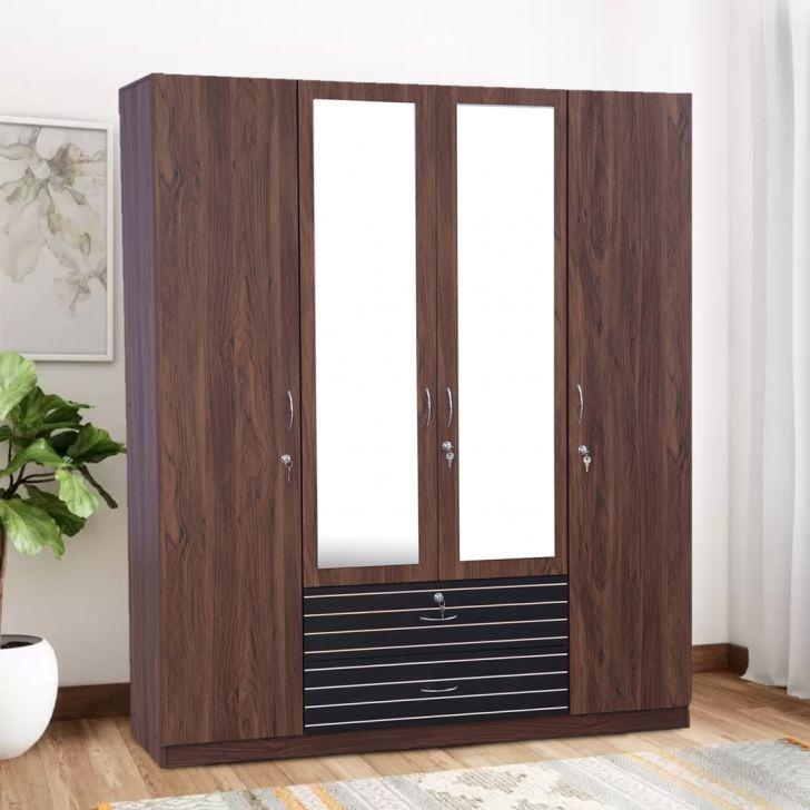 Molly Engineered Wood Four Door Wardrobe in Multi Color Colour by HomeTown