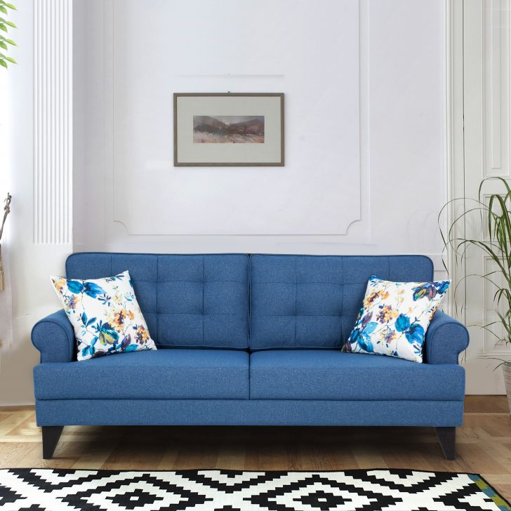 Miller Fabric Three Seater Sofa in Blue Color by HomeTown