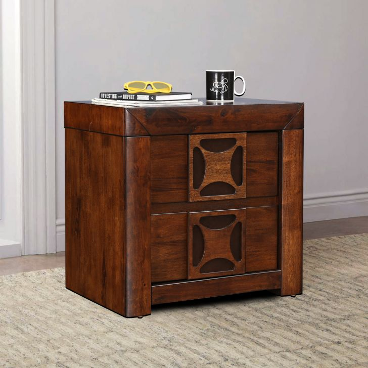 Casablanca Rubber Wood Bedside Table in Walnut Colour by HomeTown