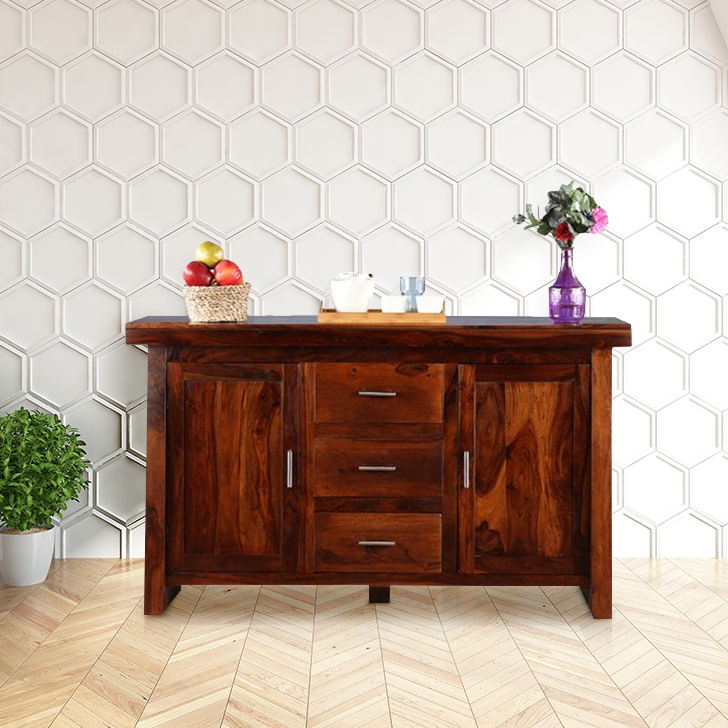 Austin Solid Wood Storage Sideboard in Honey Colour by HomeTown