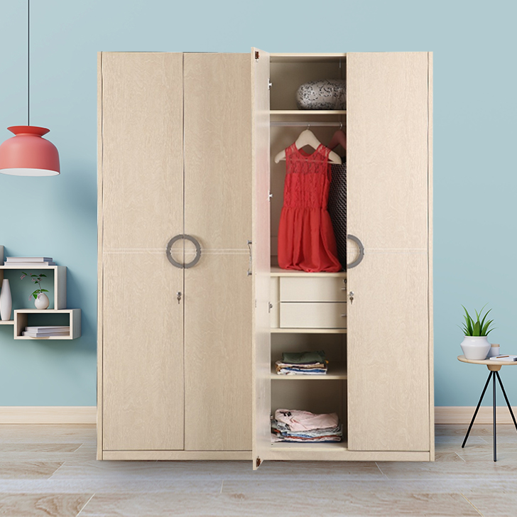 Aurelia Engineered Wood Four Door Wardrobe in High Gloss Light Maple Colour by HomeTown