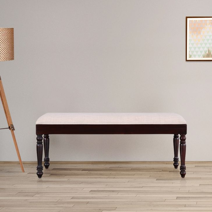 Royal Solid Wood Six Seater Dining Bench in Dark Walnut Colour by HomeTown